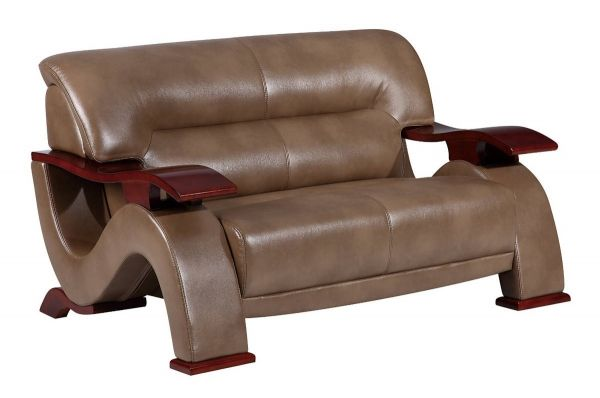 U2033 Series Contemporary Pluto Walnut PU Loveseat