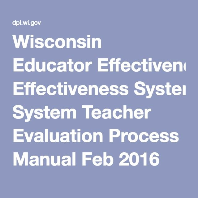 Wisconsin Educator Effectiveness System Teacher Evaluation Process