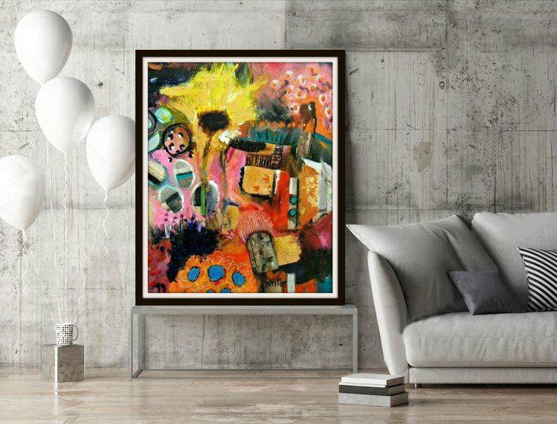 Abstract Print Modern Art Art Home Decor Statement Wall Etsy Colorful Wall Art Wall Art Living Room Bedroom Art