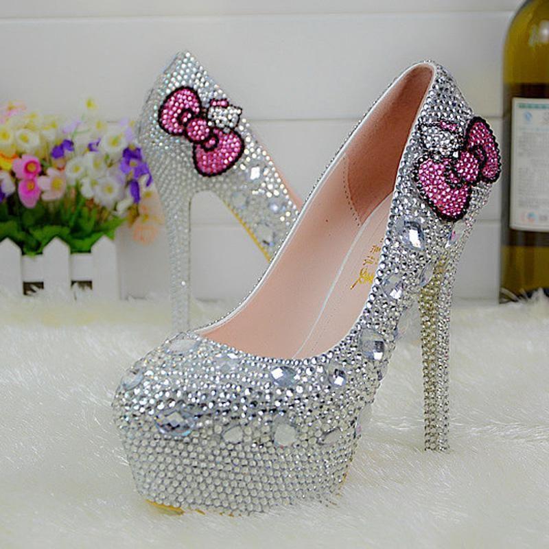 Popular Silver Rhinestone Bridal Wedding Shoes Hello Kitty Graudation Party  Prom High Heel Shoes Formal Dress ...