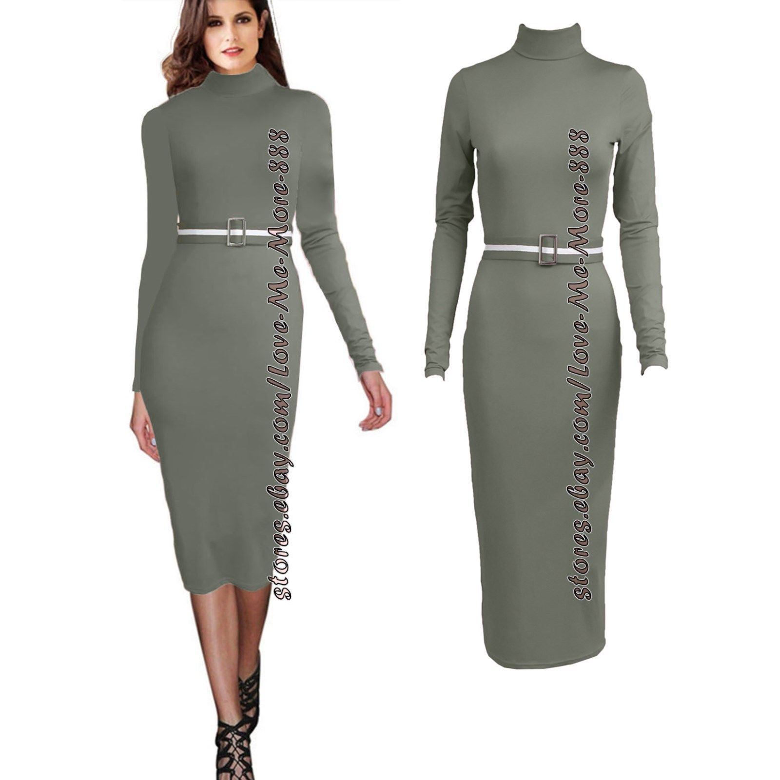 Womens solid casual party stretch slim fit high neck long midi