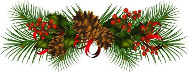 Garland Transparent Christmas Pine Cones Clipart Scrapbooking
