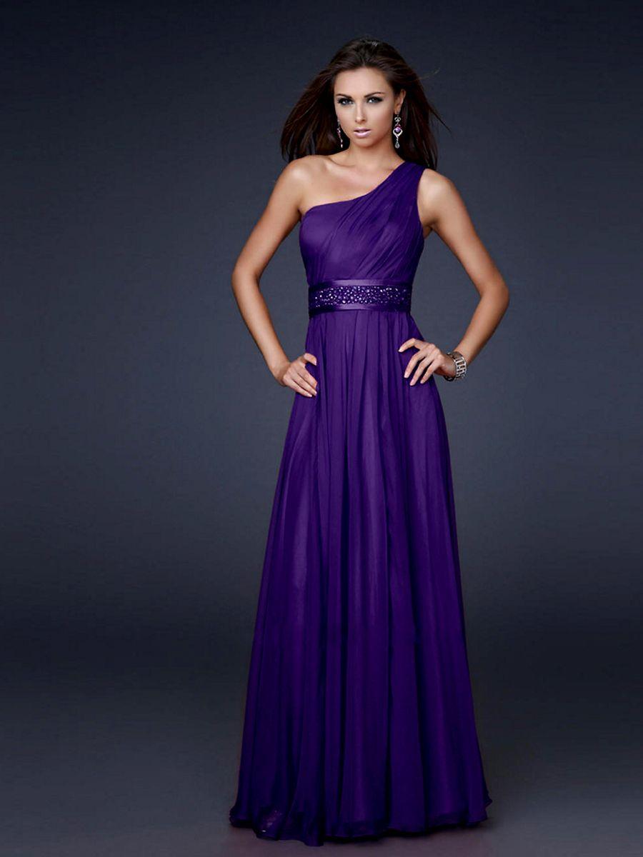 Gasa de un solo hombro vestido largo | vestidos | Pinterest | Gasa ...