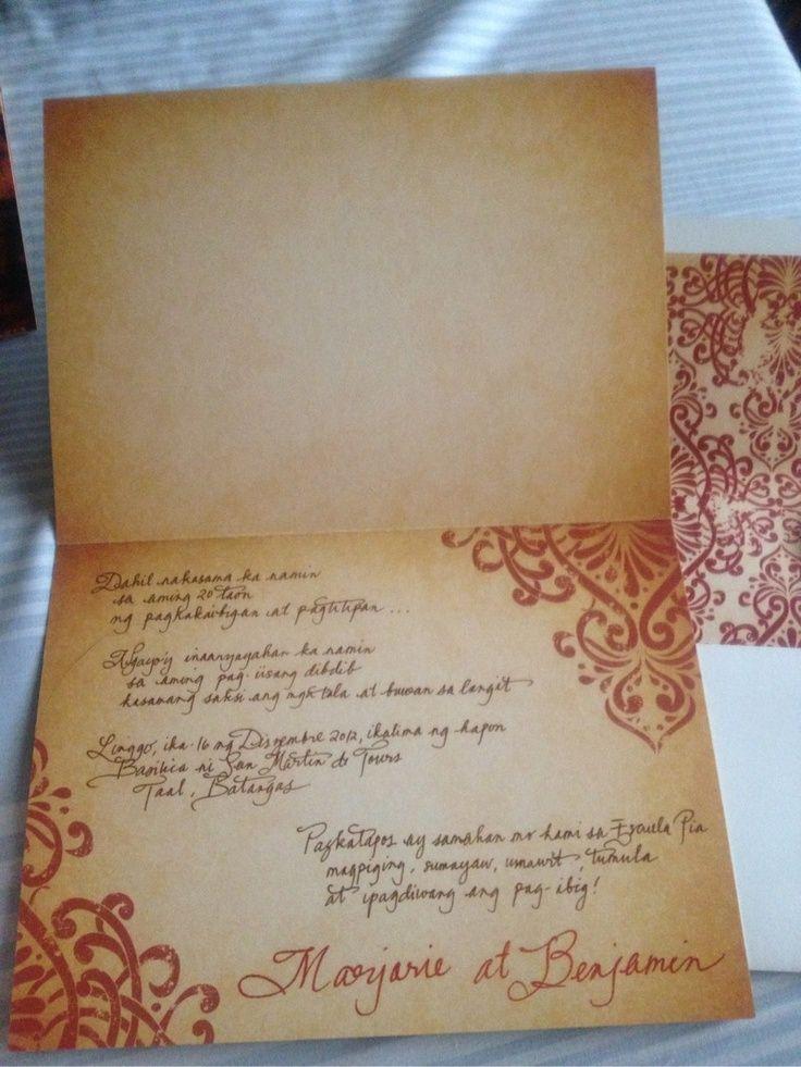 fil invitation2 Filipiniana Pinterest Wedding blog, Wedding - fresh sample wedding invitation tagalog version