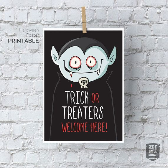Trick or treat printable sign welcome halloween by zeewilldraw
