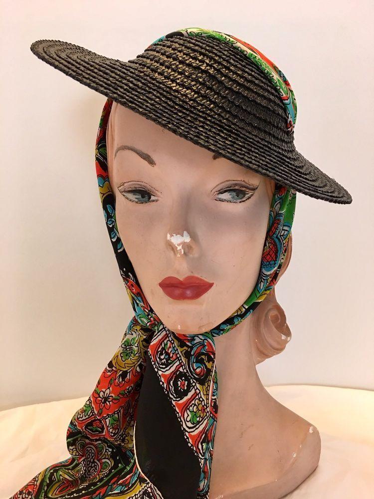 Vintage 1930s 1940s Black Straw Tilt Mini Sun Hat Topper w  Silk Scarf Tie   Tilt ce92f5aa291