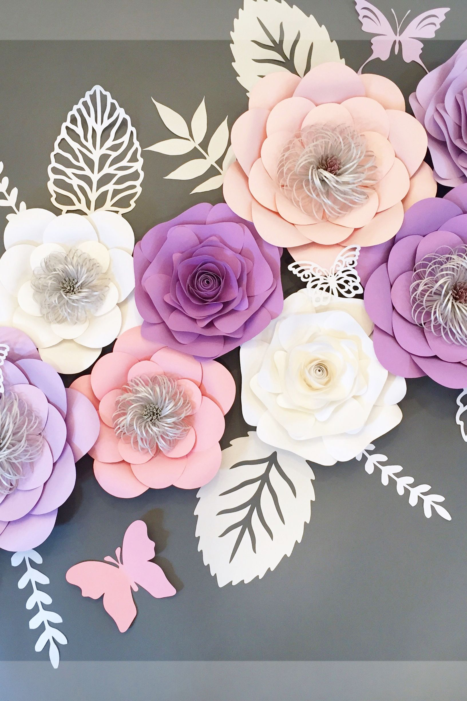 Paper Flowers Wall Decor Set Of 11 Pink And Purple Paper Flowers