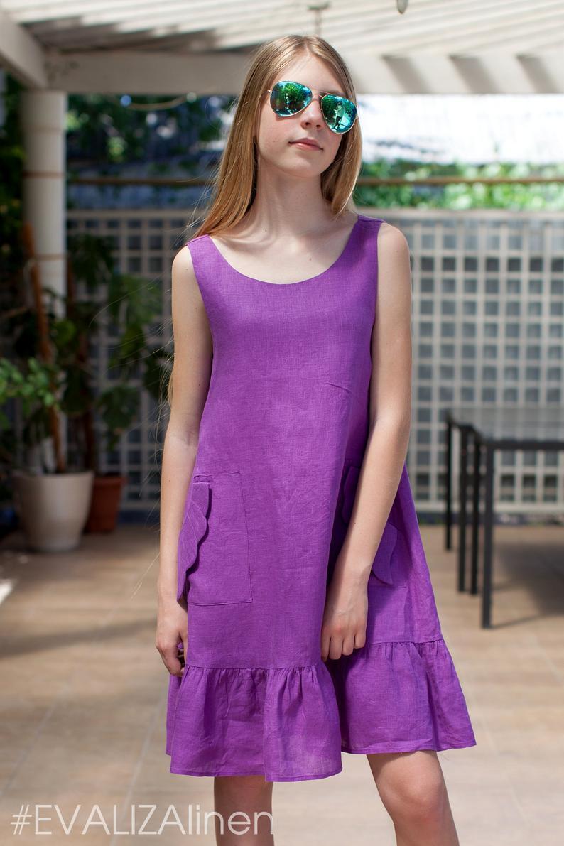 Ultra Violet Linen Sleeveless Girls Dress With Ruffles Pocket Etsy Girls Dresses Girl Fashion Dresses [ 1191 x 794 Pixel ]
