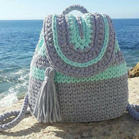 Mochila totora tejidos bolsos de ganchillo mochilas - Como hacer bolsos tejidos ...