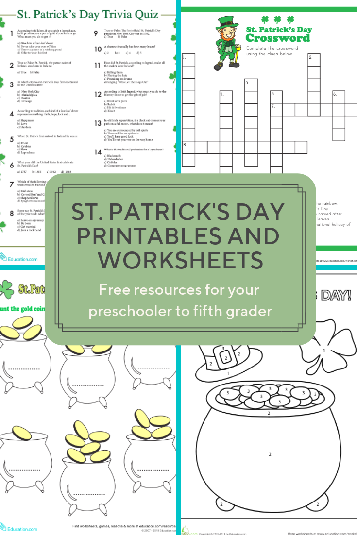 graphic regarding St Patrick's Day Worksheets Free Printable called Achieve much more than a hundred St. Patricks Working day worksheets and