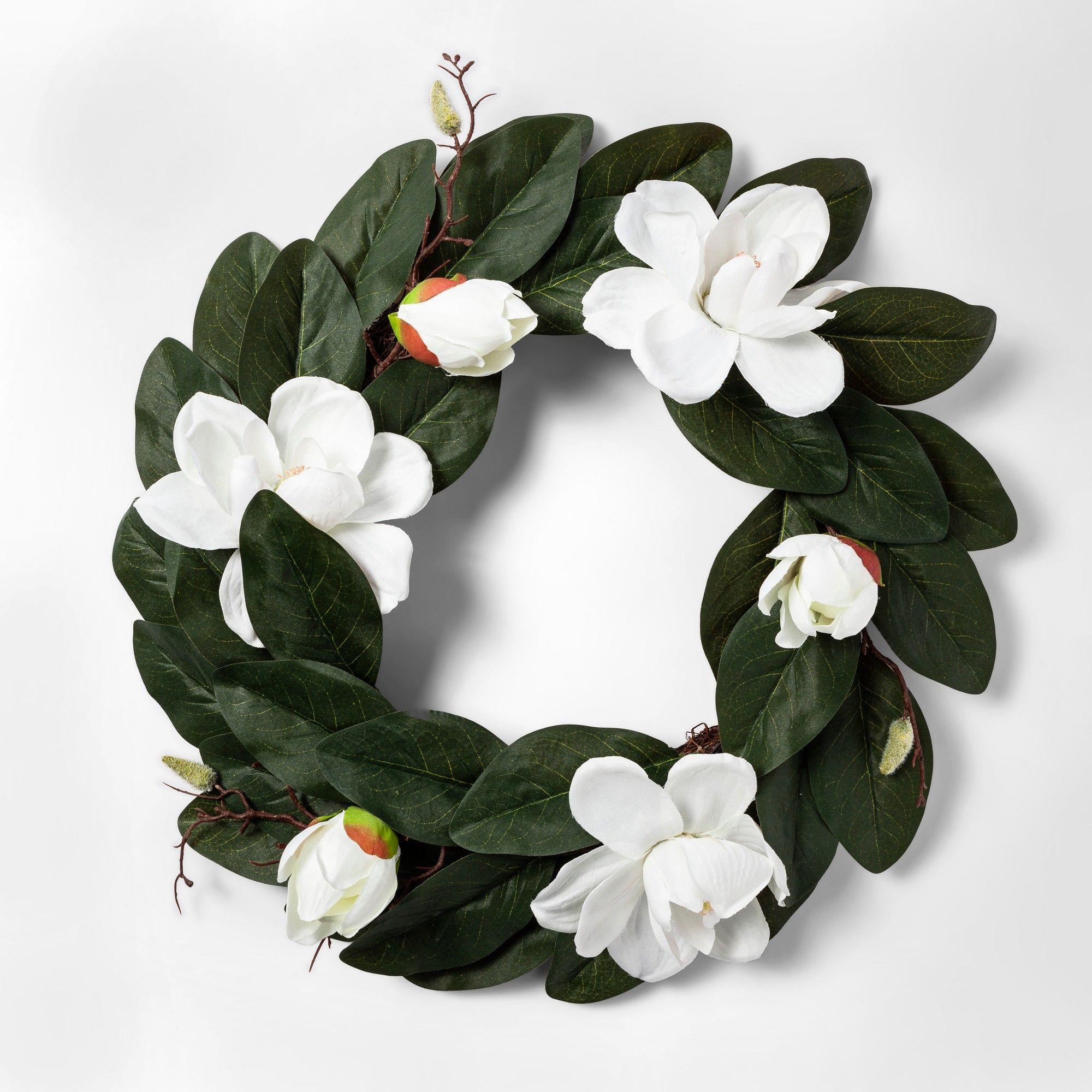 Photo of 20.5″ Artificial Magnolia Wreath White/Green – Threshold