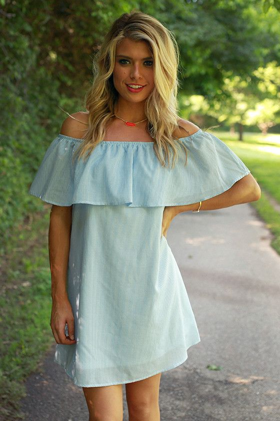 bee51d62df70 Social Times Off Shoulder Seersucker Dress