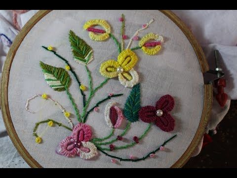 Hand Embroidery Stitches Mirror Work With Romanian Couching Stitch