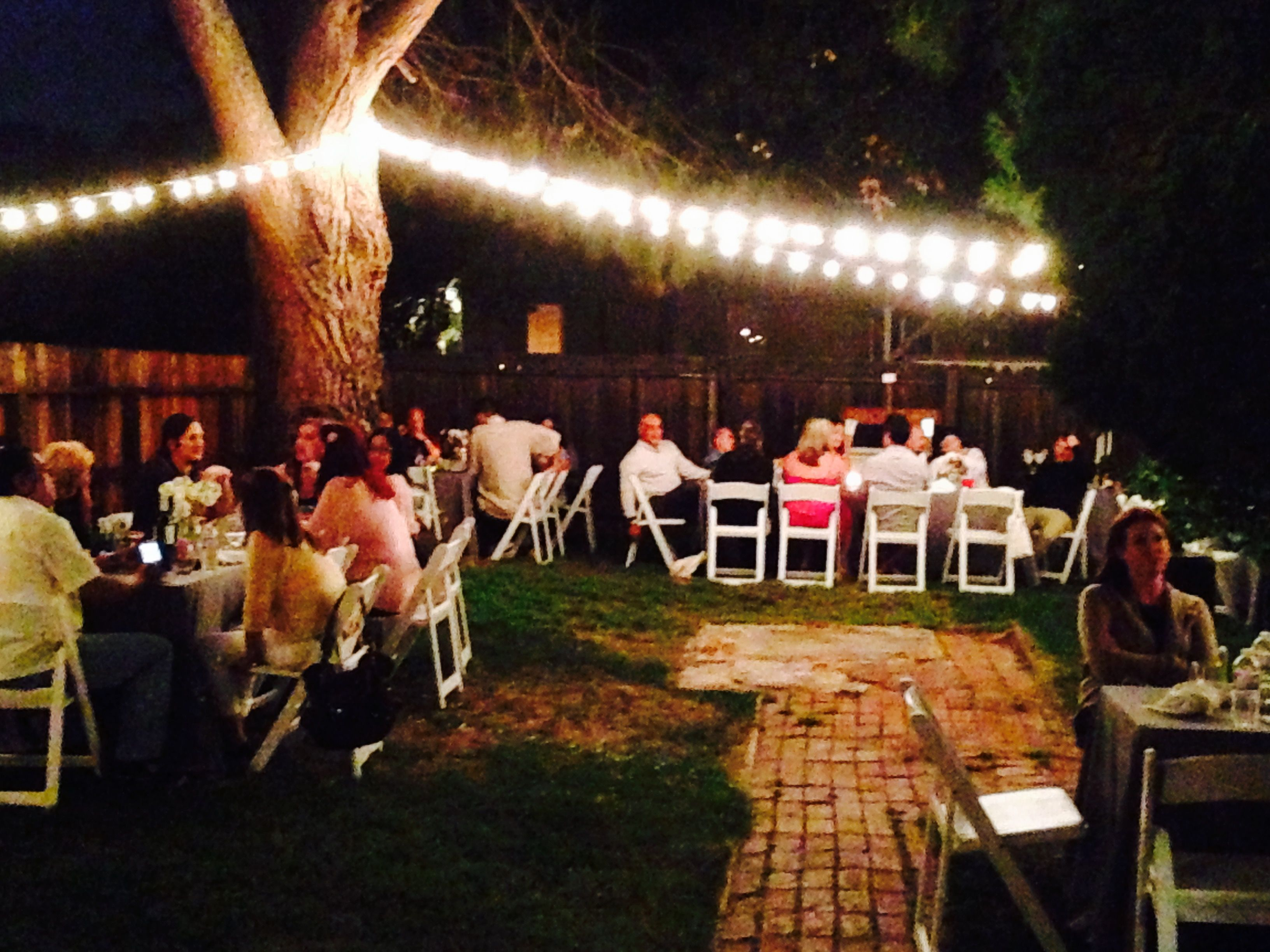 Small Outdoor Dinner Party A Few Tables, Chairs And Linens