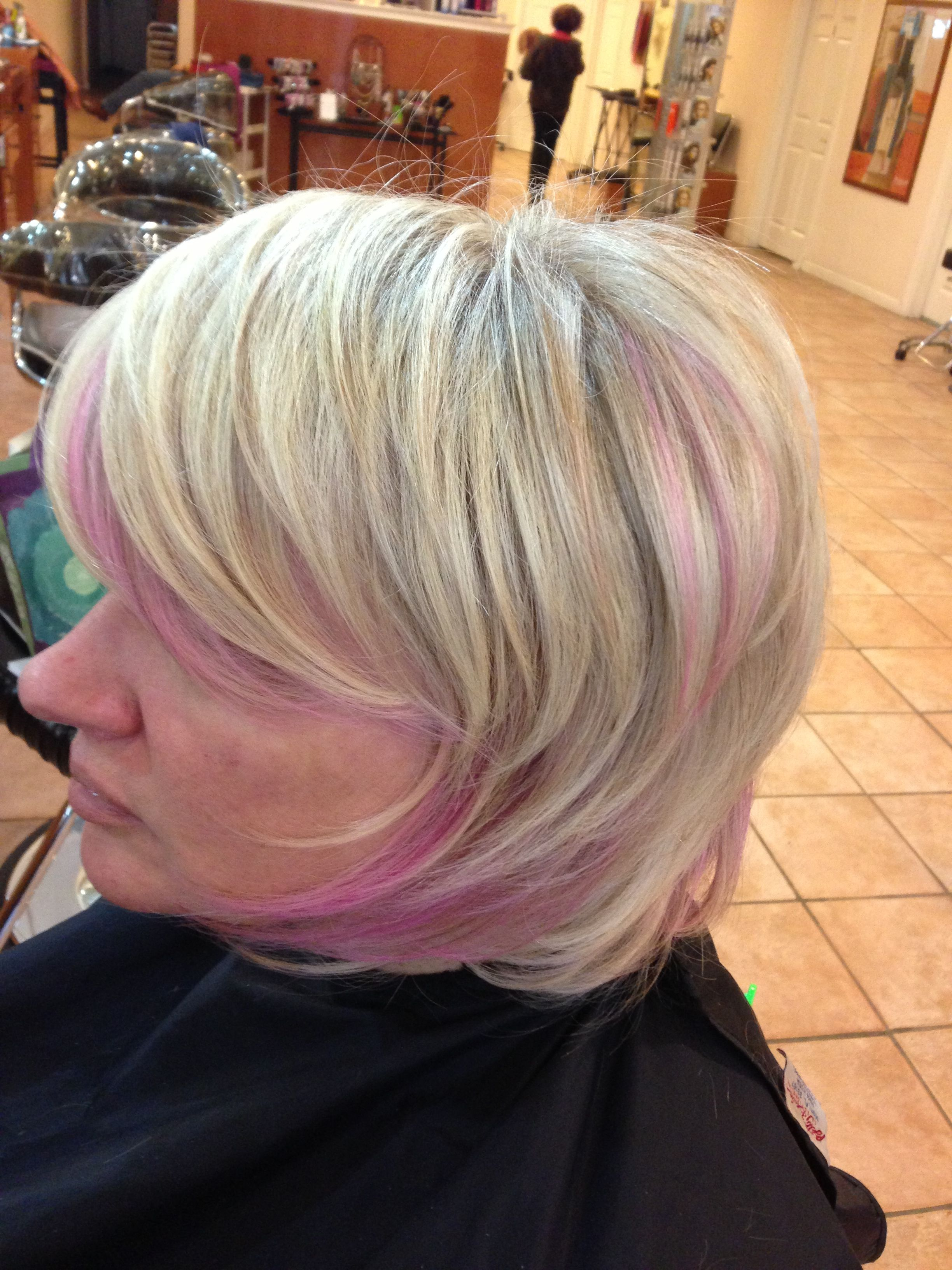 Blonde hair with pink lowlights