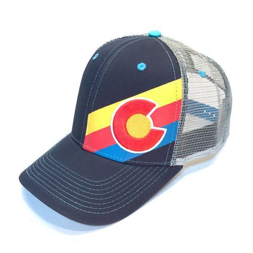 74a1767317d22 Incline Colorado Trucker Hat - Navy Red Yellow