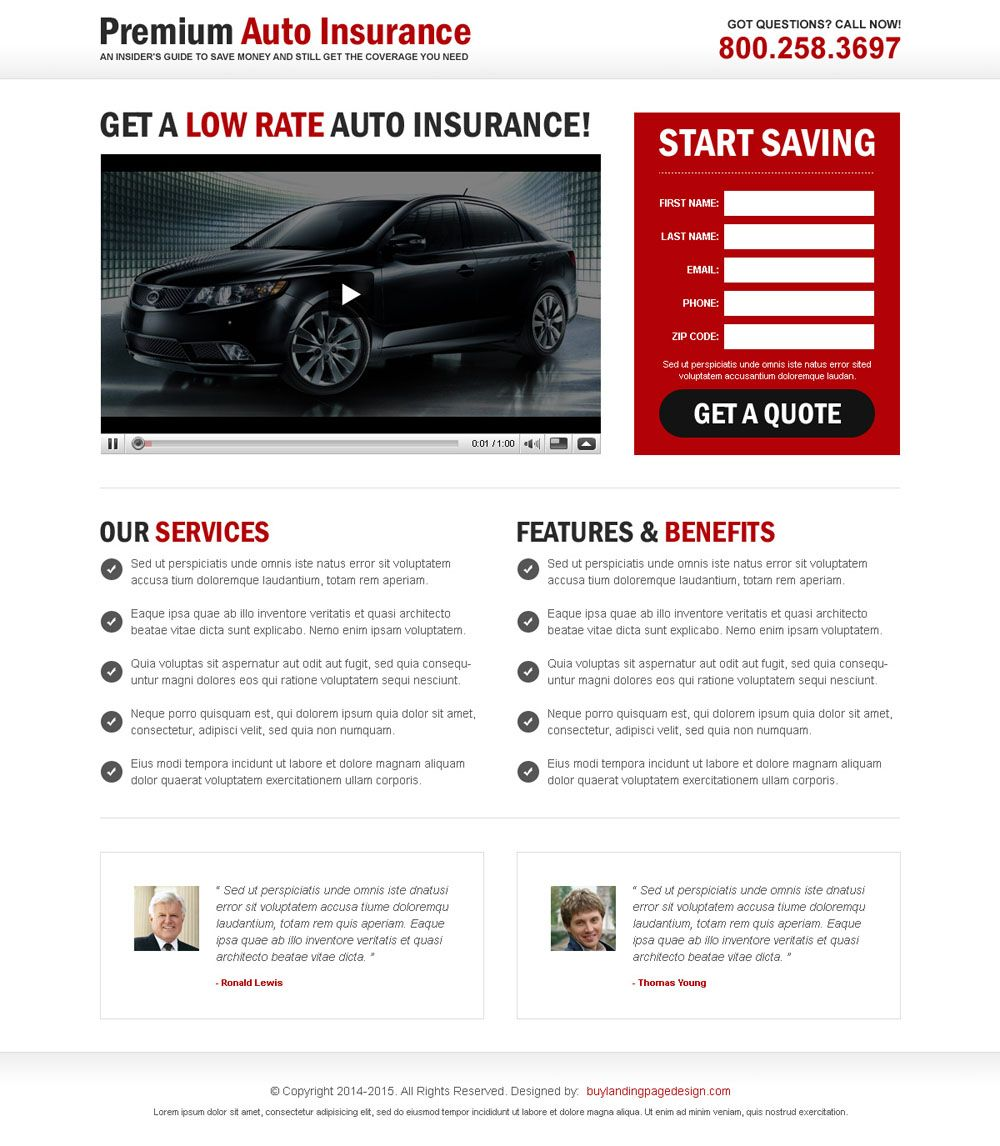 Auto Insurance Lead Capture Video Landing Page Best Landing Pages Landing Page Design Best Landing Page Design