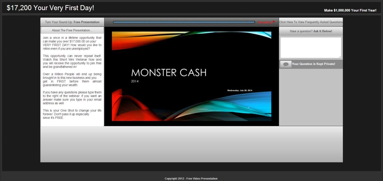 Monster Cash Mini Webinar System