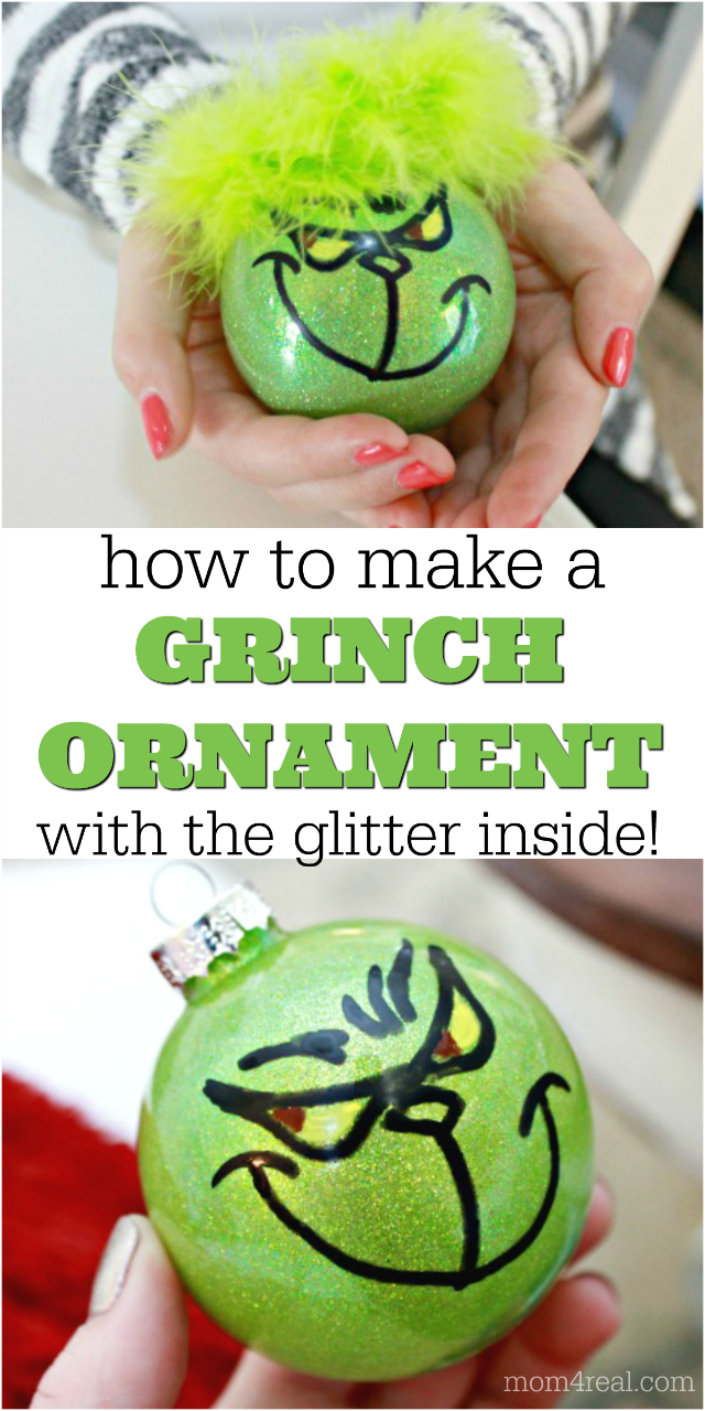 Painted Grinch Ornament Grinch Ornaments Homemade Christmas Ornaments Diy Kids Christmas Ornaments
