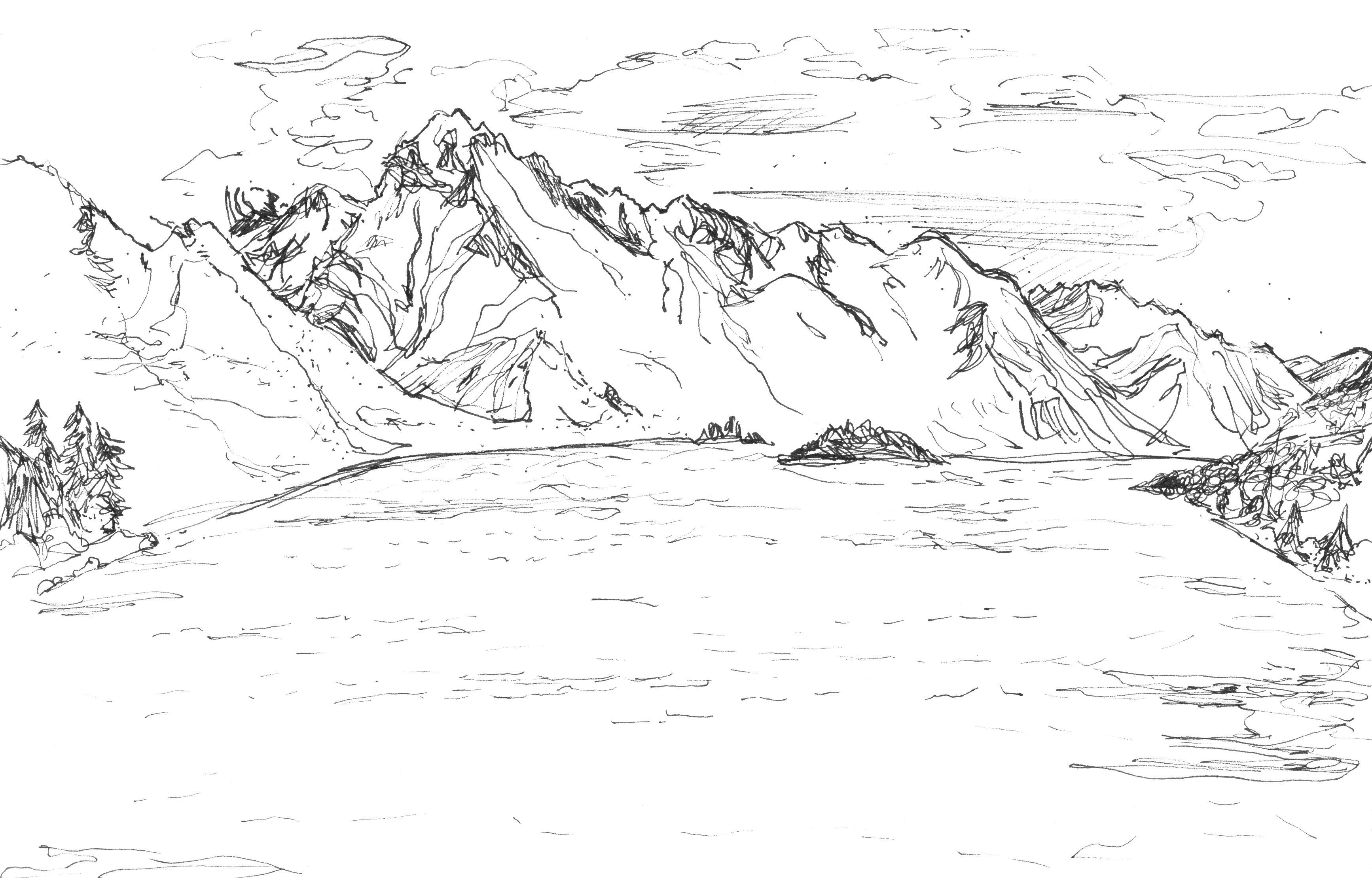Contour Line Drawing Algorithm : Line drawings of landscapes gallery