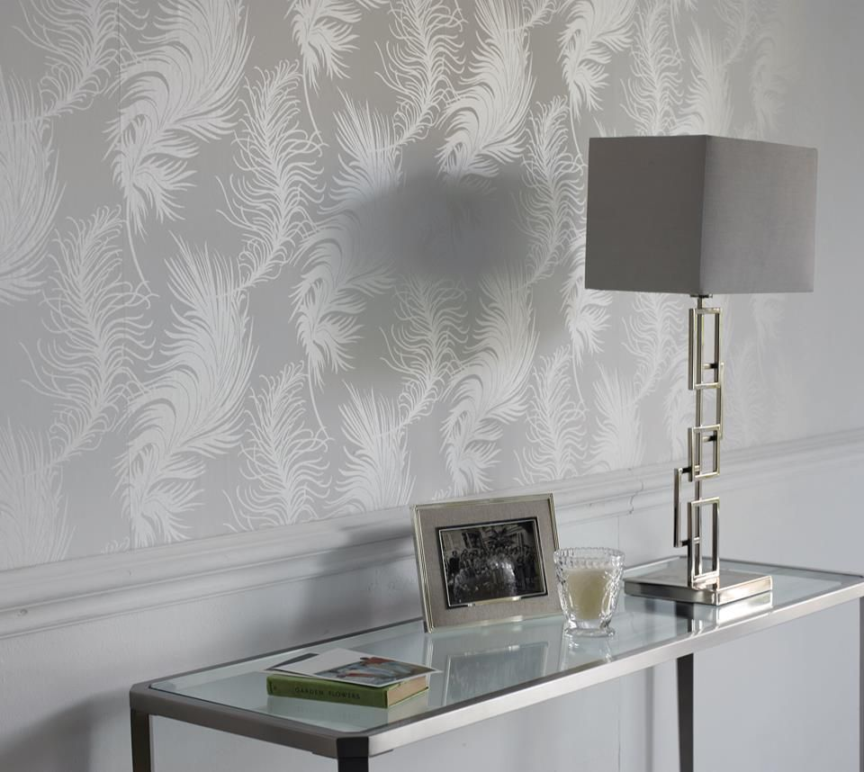 Laura Ashley Plume White Wallpaper Tv Lounge Design