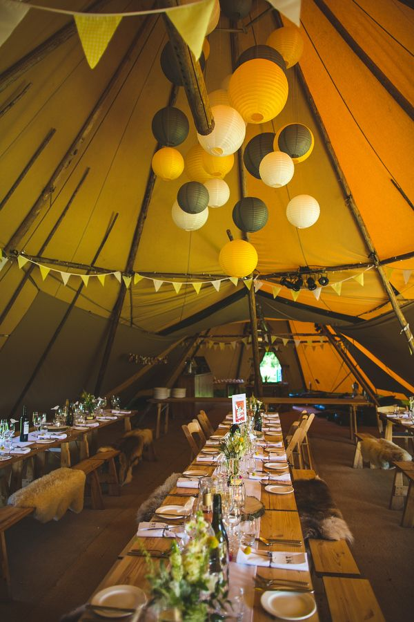 Wedding Rustic Tipi Decor Yellow http://www.s6photography.co.uk/