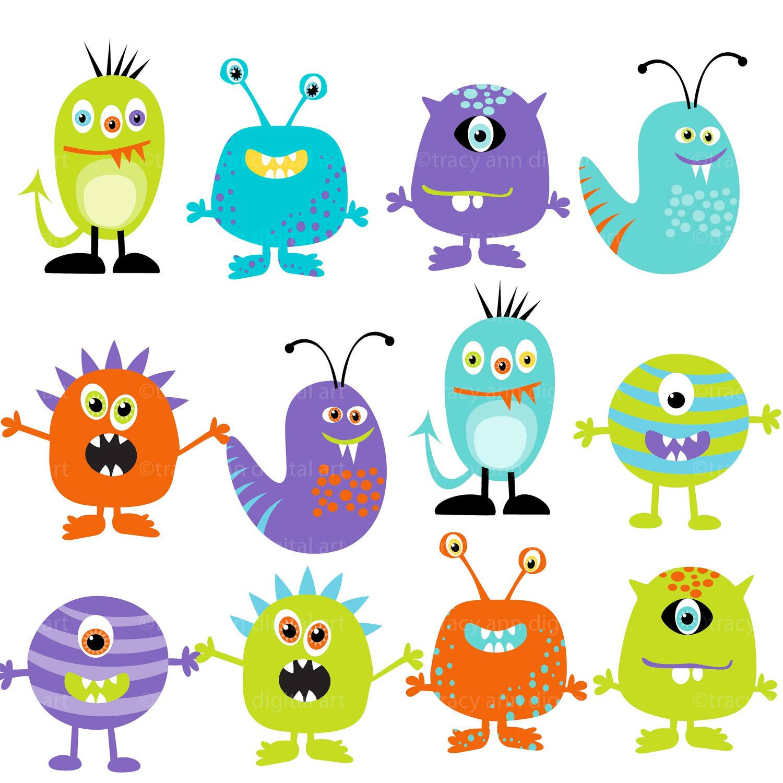 Monster Clipart Digital Monsters  - Set of 12 (Set 2). $9.95, via Etsy.