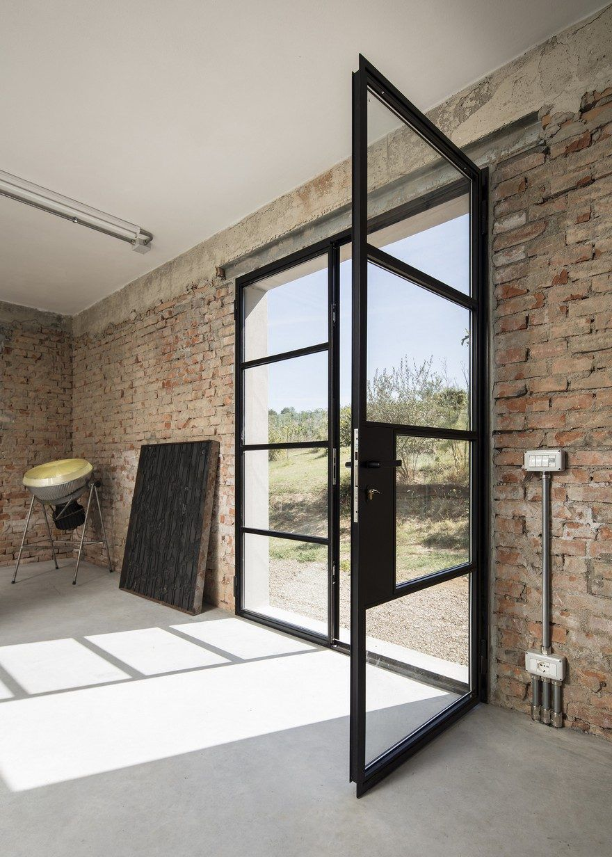 A 1960s Brick Barn Turned Into A Beautiful Live And Work Space For An Artist Steel Patio Doors Rural Studio Patio Doors