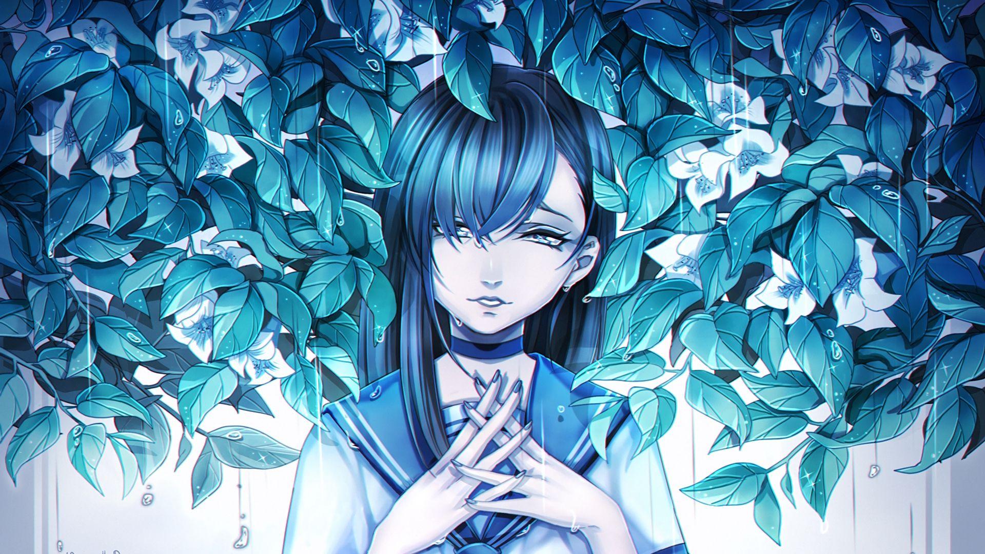 1920x1080 Wallpaper Girl Anime Sadness Leaves Art Anime Art Beautiful Art Wallpaper Leaf Art Emo anime wallpaper for laptop