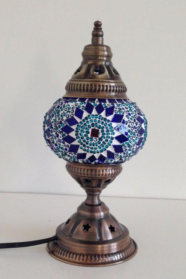blue mosaic lamp with vintage look base bedside night. Black Bedroom Furniture Sets. Home Design Ideas