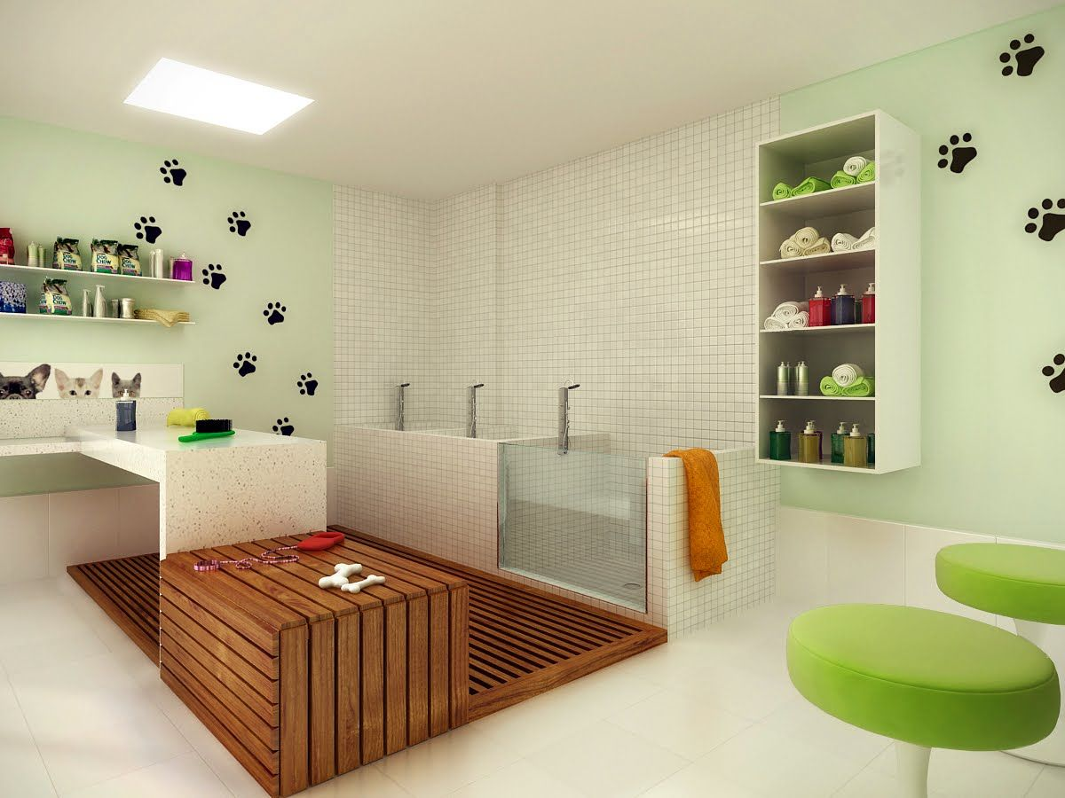 small space put to good use! Dog grooming salons