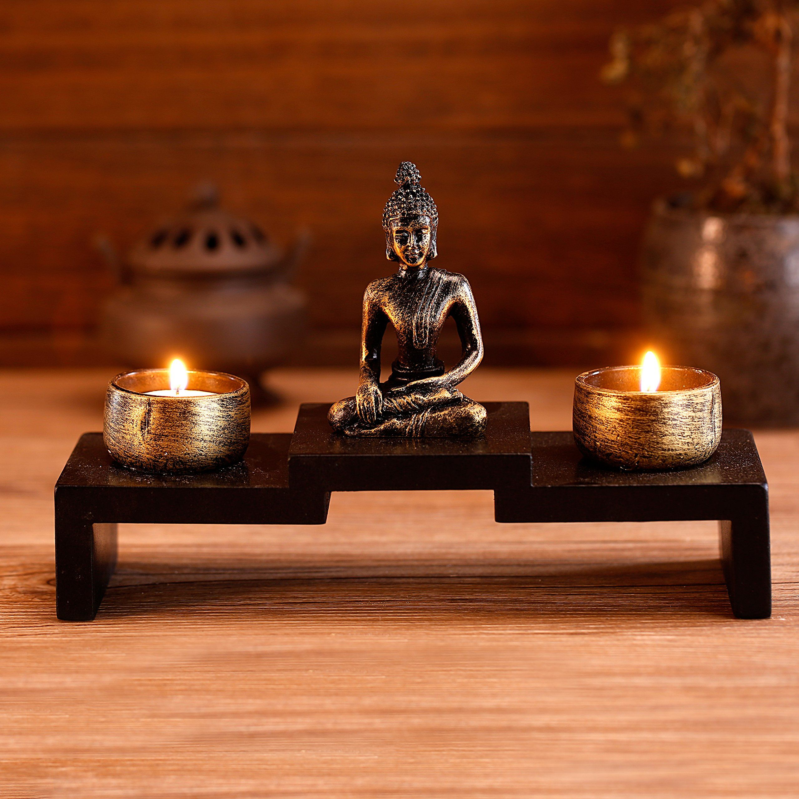 Mini Buddha Statue Zen Decoration with Tealight Candle Holders and