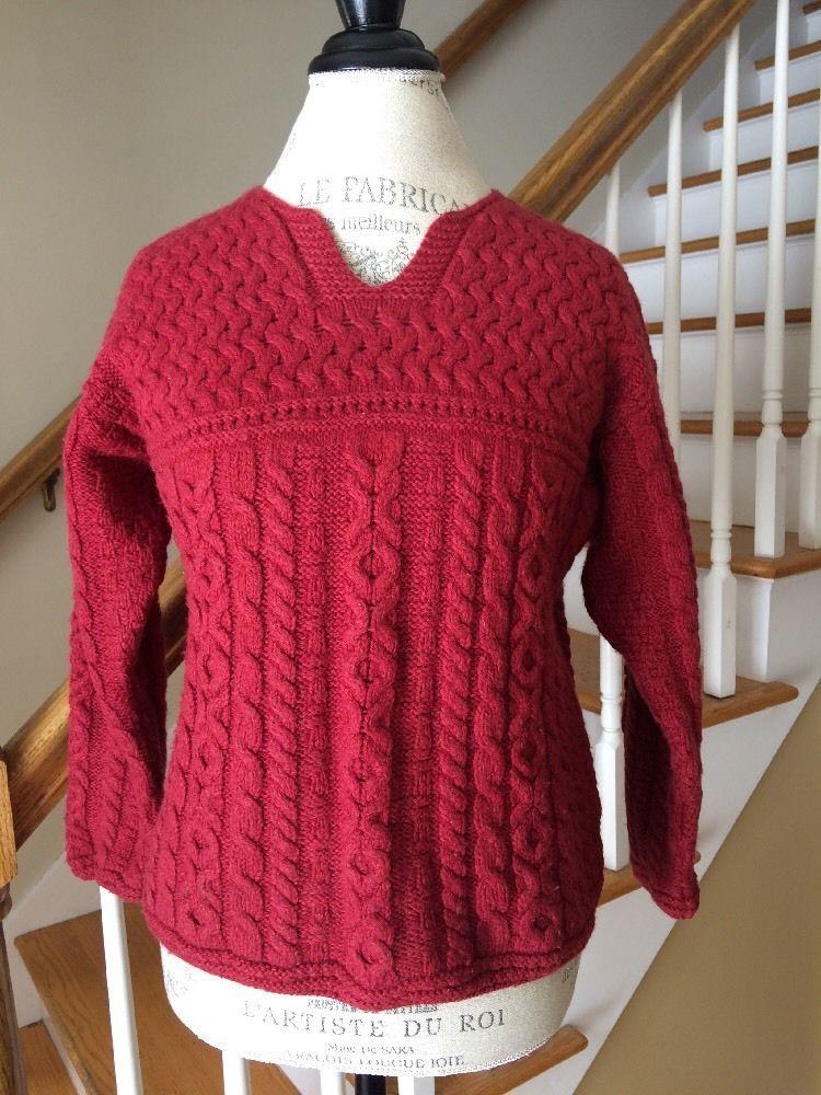 Blarney Woollen Mills 100% Merino Wool Red Aran Cableknit Irish Sweater Sz M #BlarneyWoollenMills #Sweater