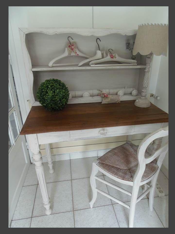 Bureau patin perle plateau bois meubles vintage industrielle - Restauration meuble industriel ...