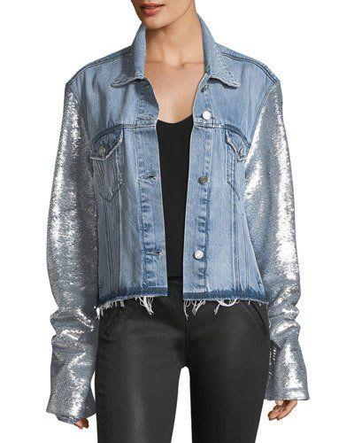 3c209a6071f45 Rta Haylee Button-Front Denim Jacket w  Sequin Sleeves