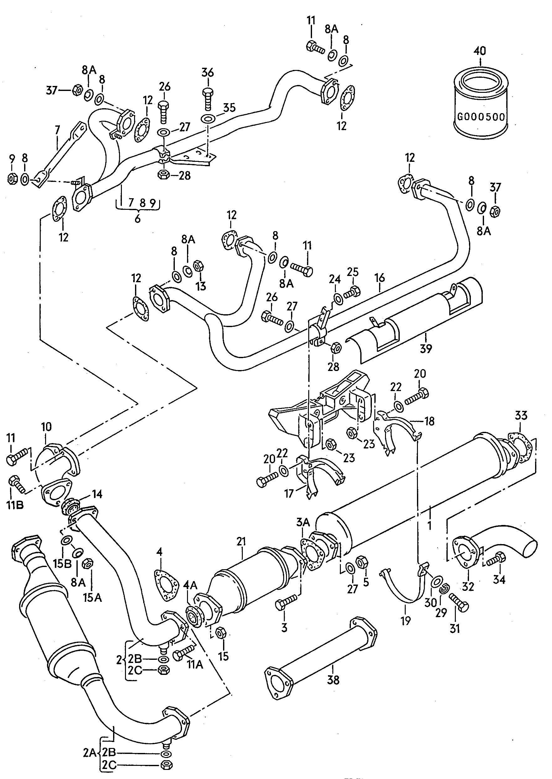 Exhaust System 2 1ltr Volkswagen Vw Vanagon Syncro