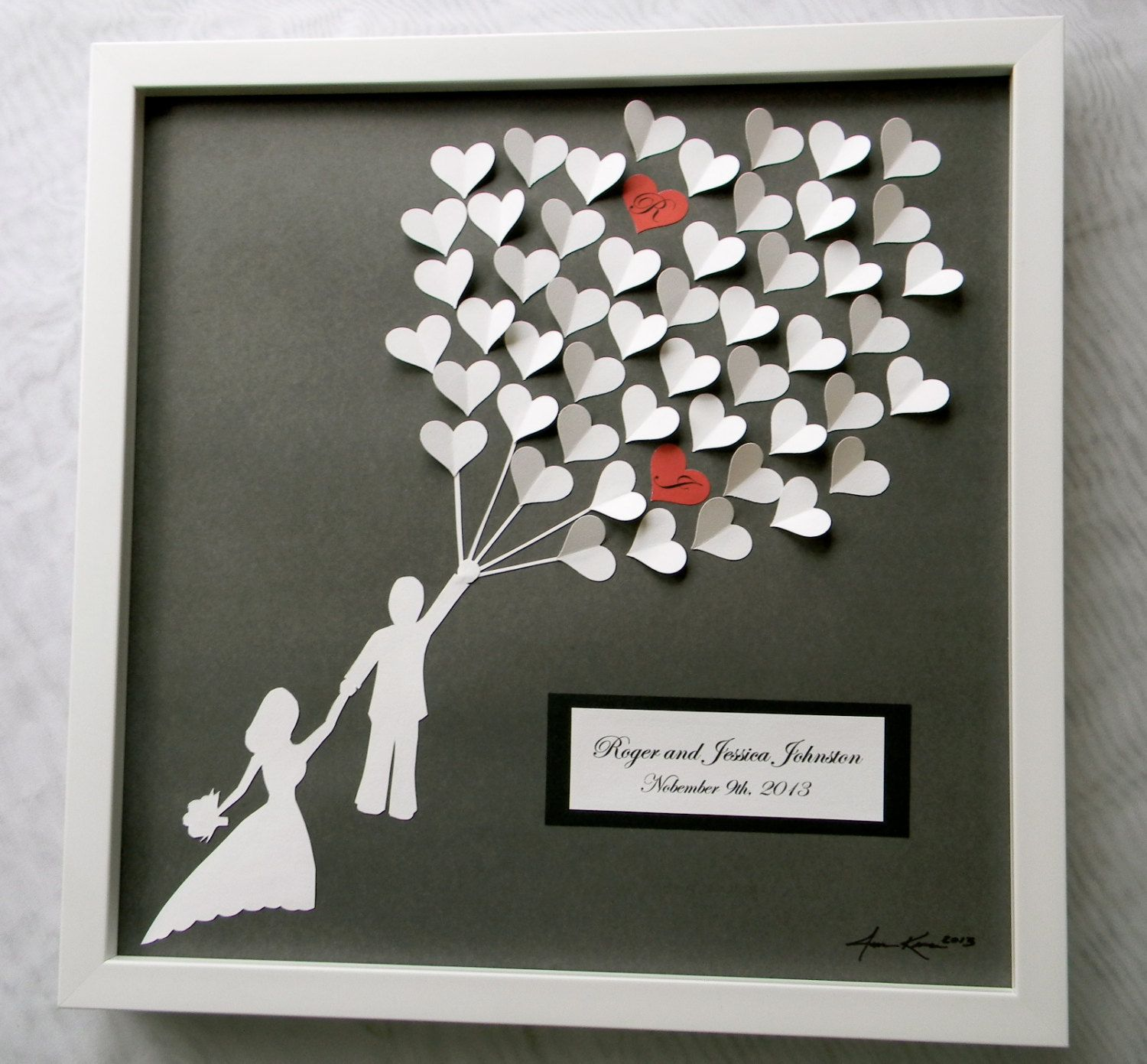 Ideas For Wedding Gift: Wedding Guest Book Alternative 3D Paper Hearts Lovely