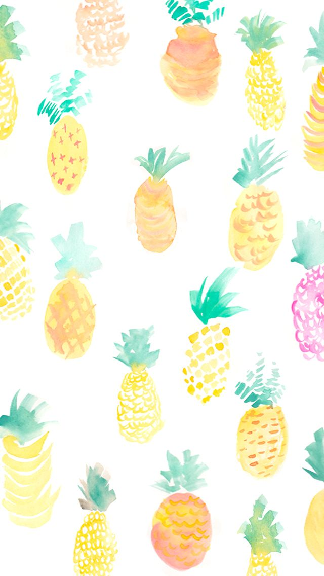 Watercolor Pineapples Find More Fruity Android IPhone Wallpapers