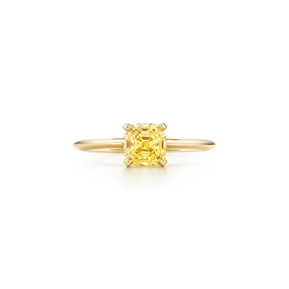 Ring In 18k Gold With A Square Antique Modified Brilliant Yellow Diamond Diamond Rings With Price Yellow Diamond Rings Classic Engagement Ring Solitaire