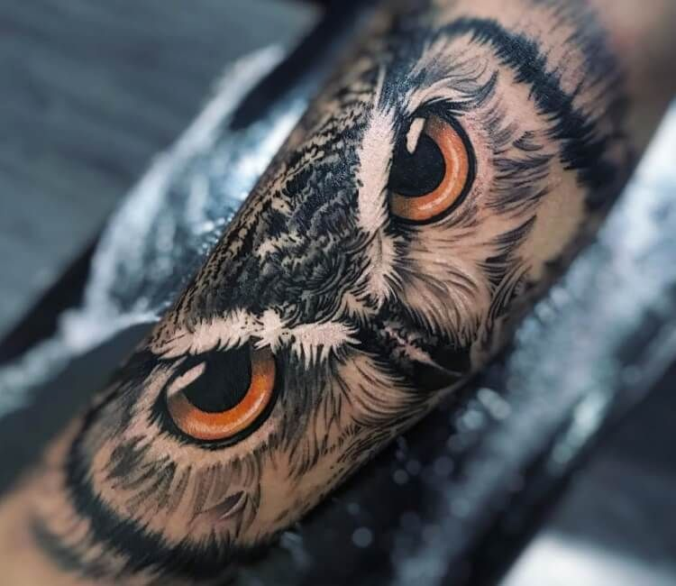 Owl Eyes Tattoo By Daniel Bedoya Post 28346 Owl Neck Tattoo Owl Forearm Tattoo Owl Eye Tattoo