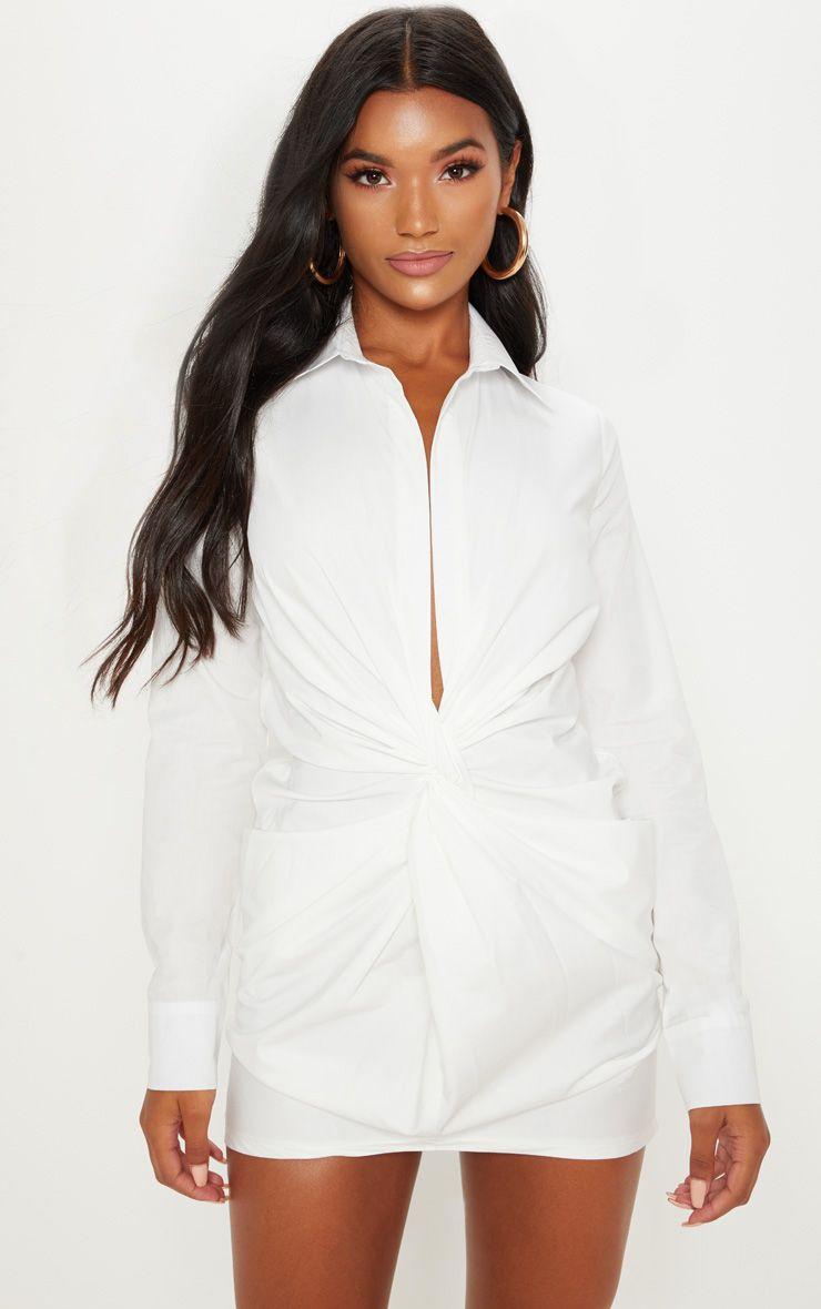 White Plunge Knot Detail Shirt Dress Basic White Blouse White Blouse Dress White Collar Dress Shirt