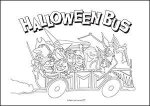 Halloween Bus Coloring Sheet
