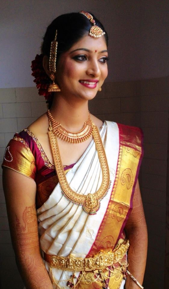 Stunning South Indian Bride In White Deep Red And Gold