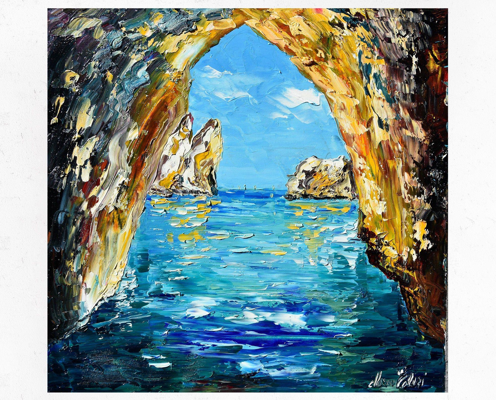 Capri painting on canvas, I Faraglioni, wall art decor ...