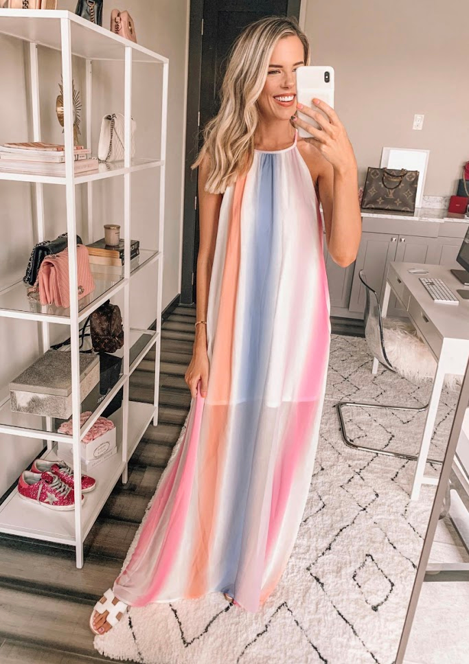 This gorgeous ombre striped maxi is so perfect for summer fun! We're falling