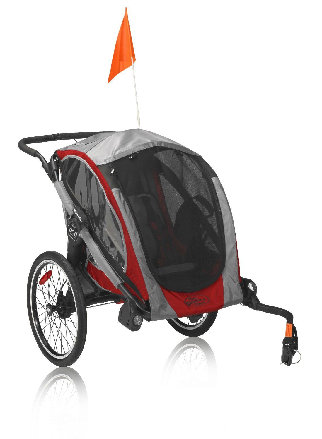 Features a wheel hitch and tow bar for converting the Baby