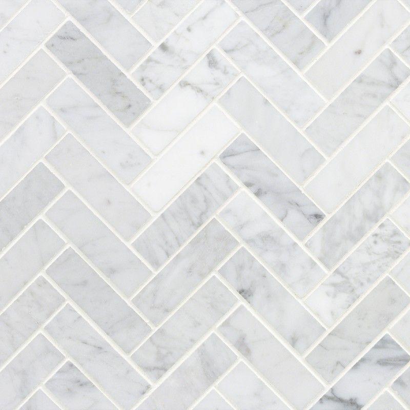 Carrara herringbone 1x3 polished mosaic tile in 2020