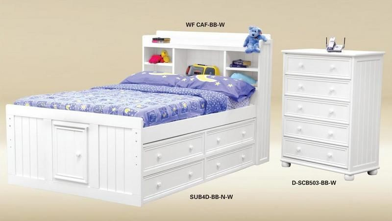 Best Good Trading Cottage Twin Captain Bead Board Bed In White 640 x 480
