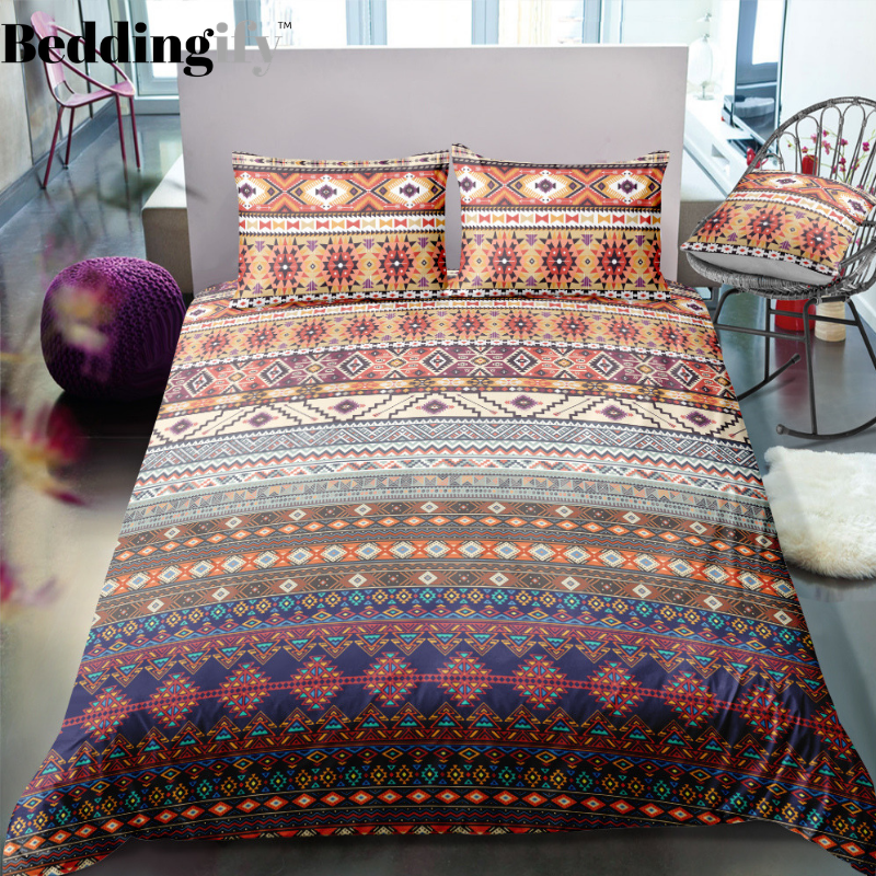 Indian inspired Native American Aztec Bedding Set in