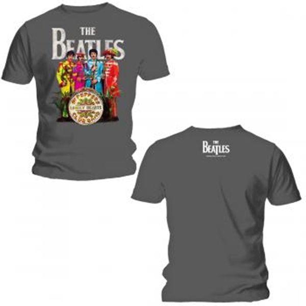 The Beatles T Shirt White Album Back Print Vintage Logo Mens Grey